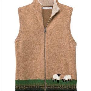 "Woolrich Women's Lambs Wool Vest ""Grazing Sheep"""